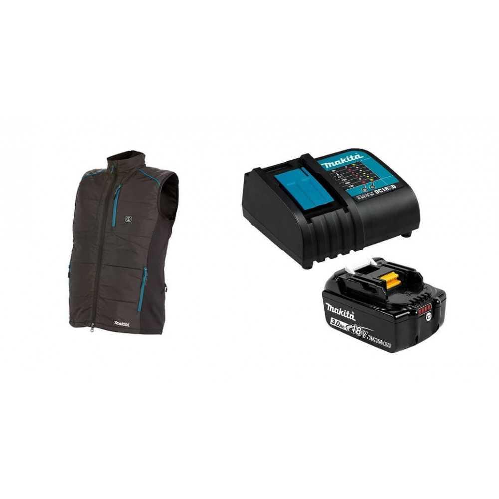 Chaqueta Térmica Talla M DCV202Z 18V + Batería 18V 3Ah BL1830B + Cargador DC18SD Makita DCV202ZM-2