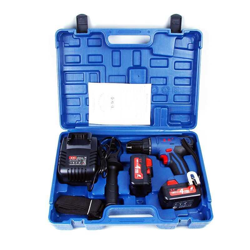 Taladro Atornillador Percutor Inalámbrico 13 MM - 18V + Baterías 4.0 Ah + Cargador. DONGCHENG DCJZ13E