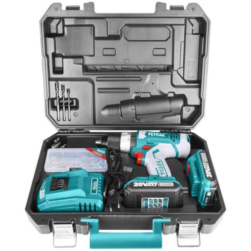 Taladro Atornillador Percutor Inalámbrico 20 V - 10MM + 2 Baterías + Cargador. Total Tools TIDLI2003