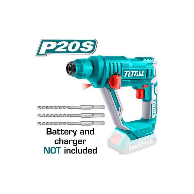 Rotomartillo Inalámbrico SDS-PLUS 20V 1.5J. Sin Batería ni Cargador. Total Tools TRHLI1601