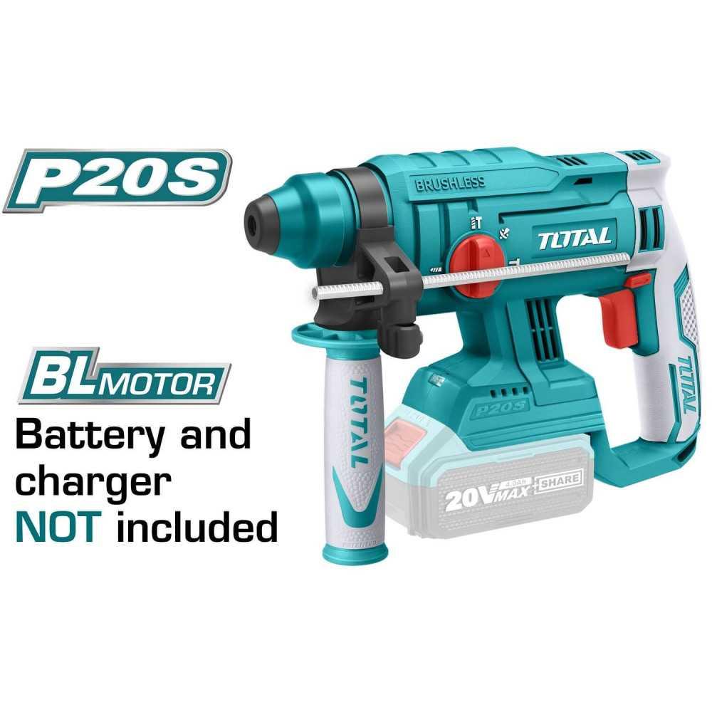 Rotomartillo Inalámbrico 20 V Motor BL Sin batería ni cargador. Total Tools TRHLI2201