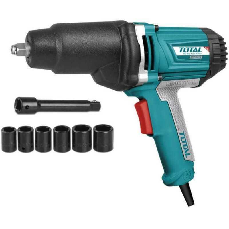 """Llave de impacto electrica 1/2"""" 1050W + 6 DADOS DE IMPACTO. Total Tools TIW10101"""