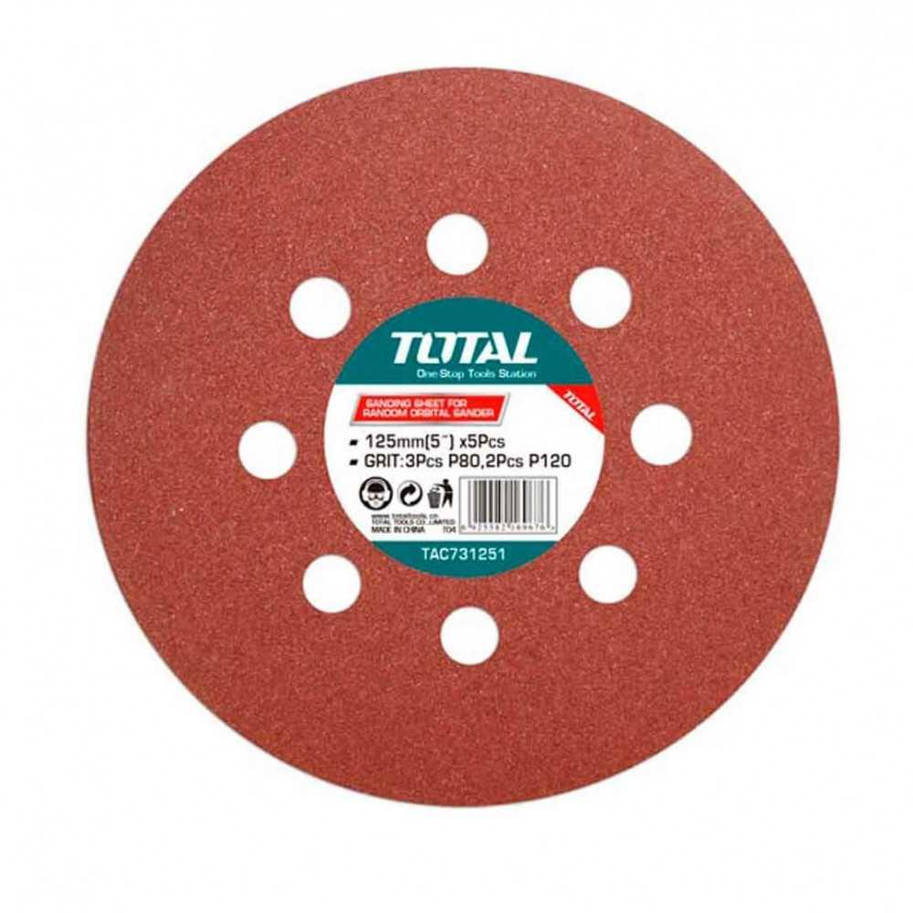 Set Discos Lija 125MM GR80 3 UNI GR120 2 UNI. Total Tools TAC731251
