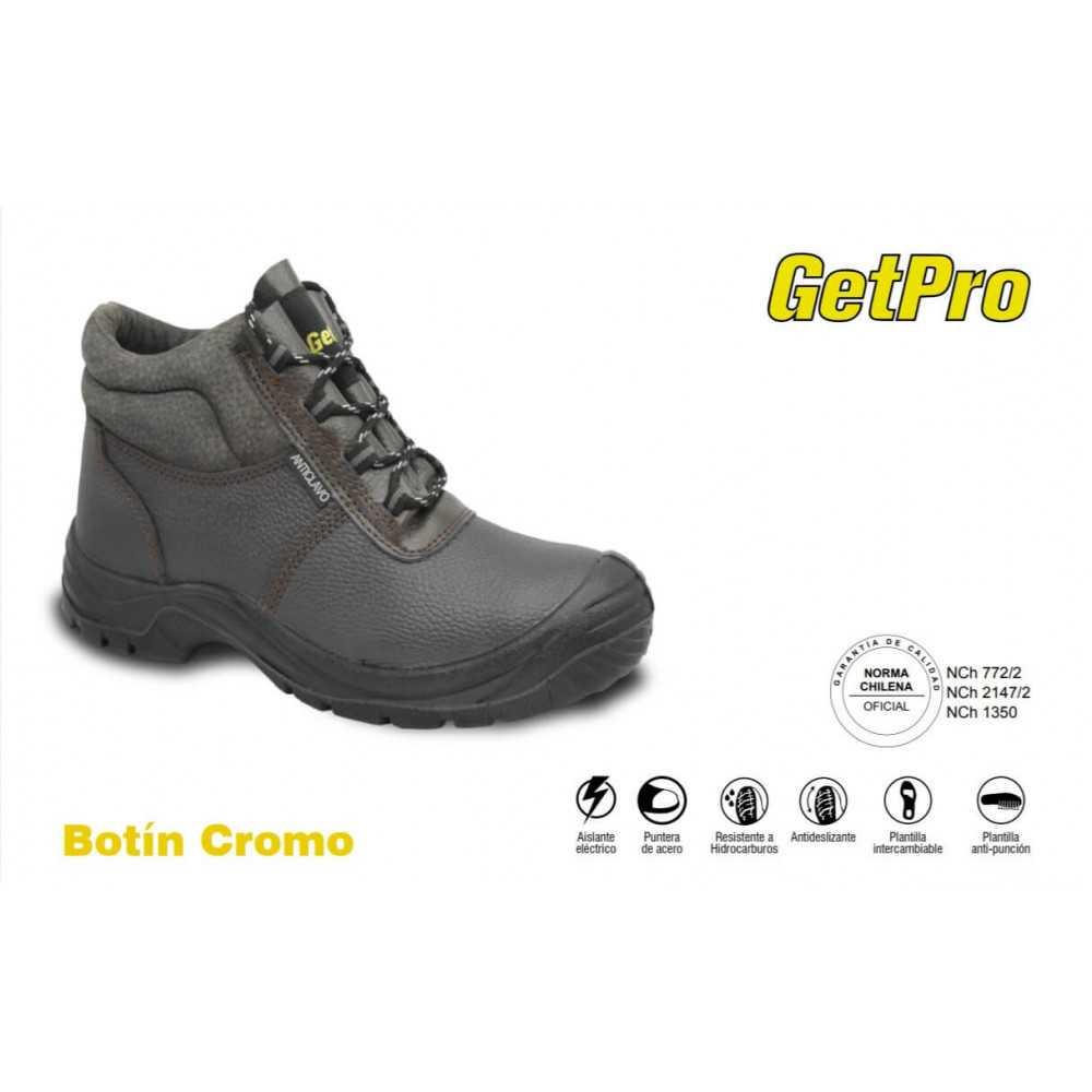 Zapatos de Seguridad Punta y Planta de Acero N°35 al 46 Cromo Getpro 140877