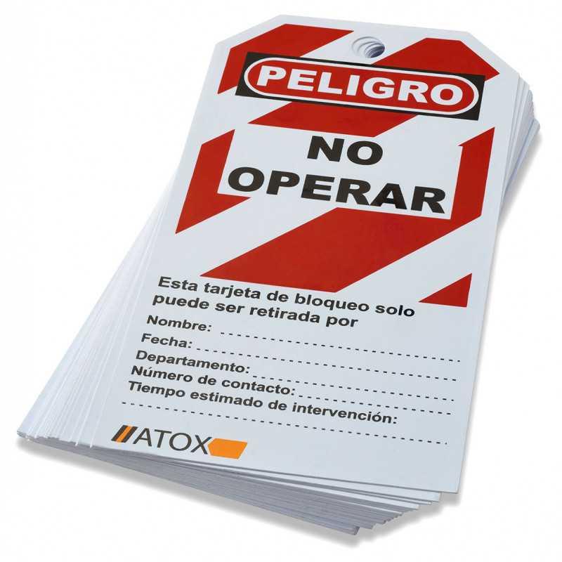 Tarjeta de Bloqueo Bolsa 25 Unidades Atox 139516