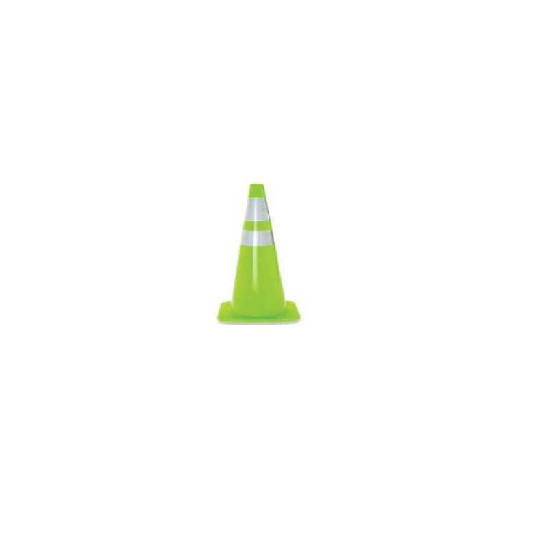 """Cono Verde 28"""" (700mm) 2 Cintas Reflectantes y Base Cuadrada. Kupfer 141817"""