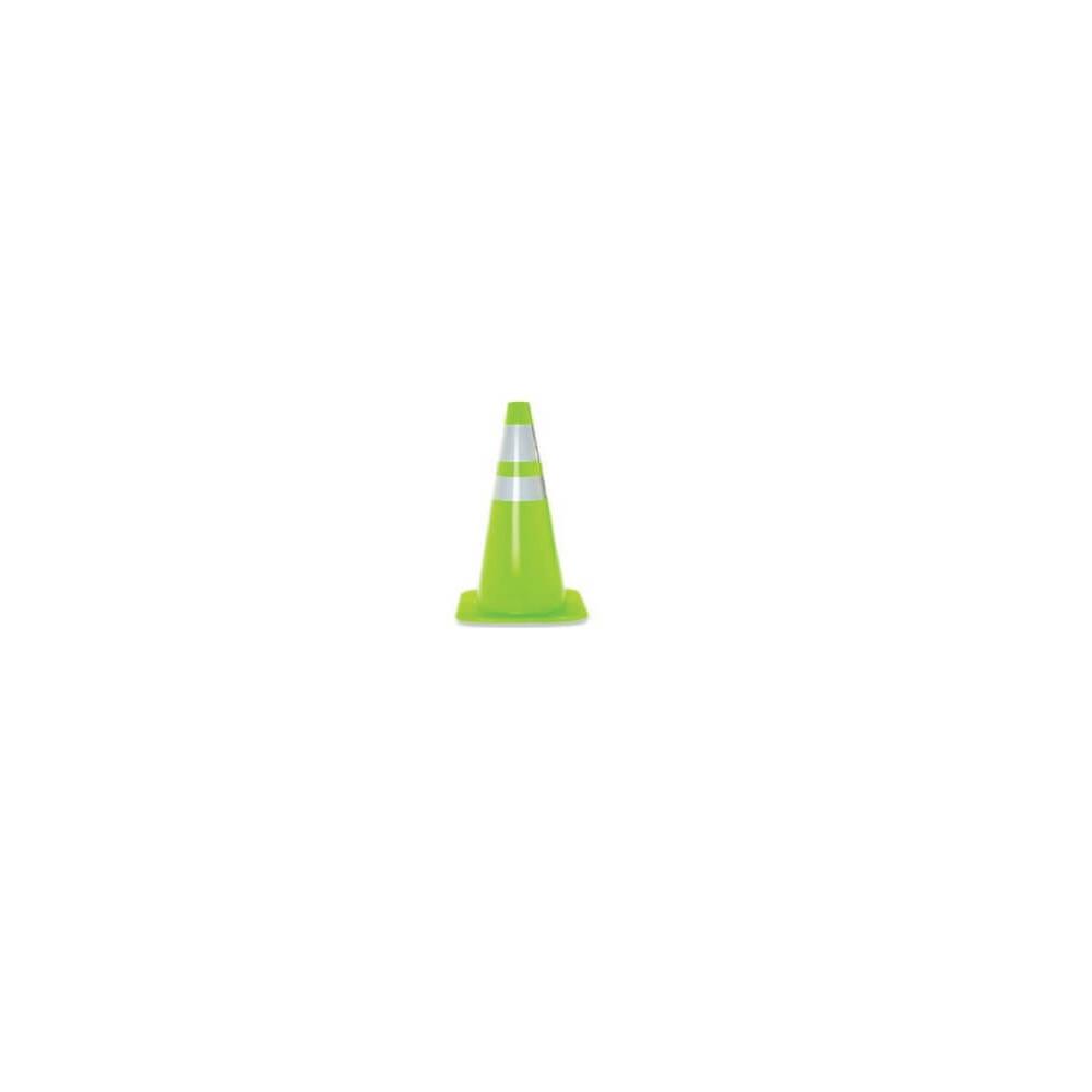 """Cono Verde 36"""" (900mm) 2 Cintas Reflectantes y Base Cuadrada. Kupfer 141818"""