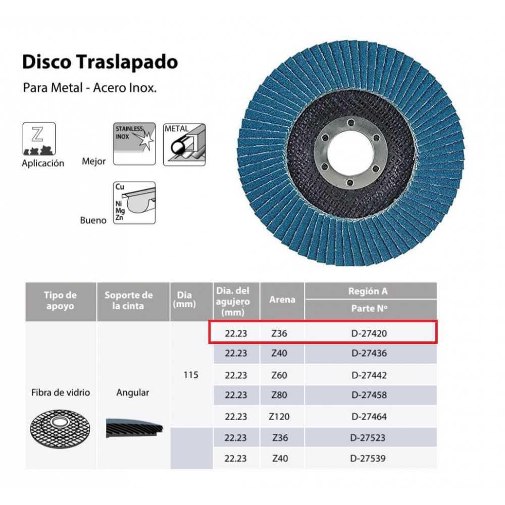 Disco Flap 115x22.23mm Grano 36 Zircón / Metal y Acero Inoxidable Makita D-27420