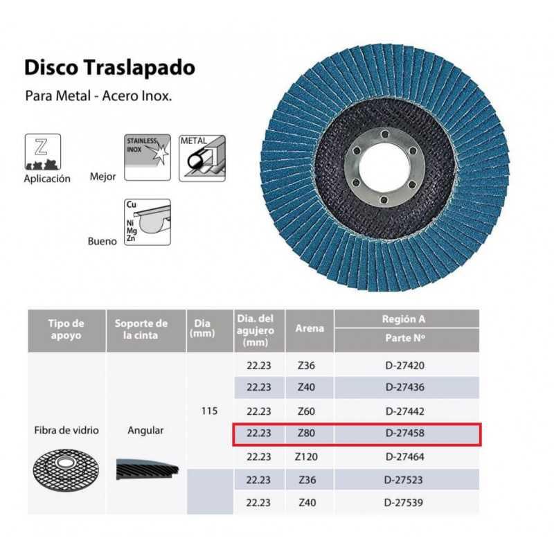 Disco Flap 115x22.23mm Grano 80 Zircón / Metal y Acero Inoxidable Makita D-27458