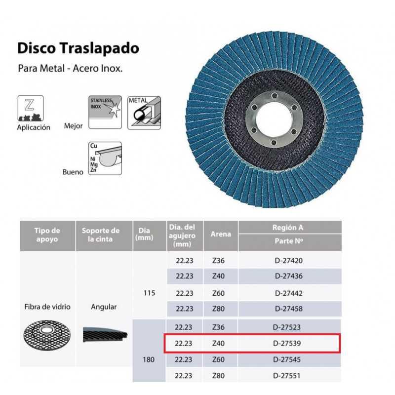 Disco Flap 180x22.23mm Grano 40 Zircón / Metal y Acero Inoxidable Makita D-27539