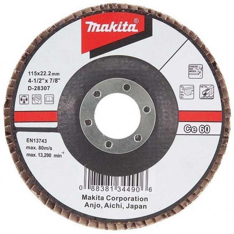 Disco Flap 115x22.23mm Grano 60 Ce / Metal y Acero Inox. Ángulo Makita D-28307