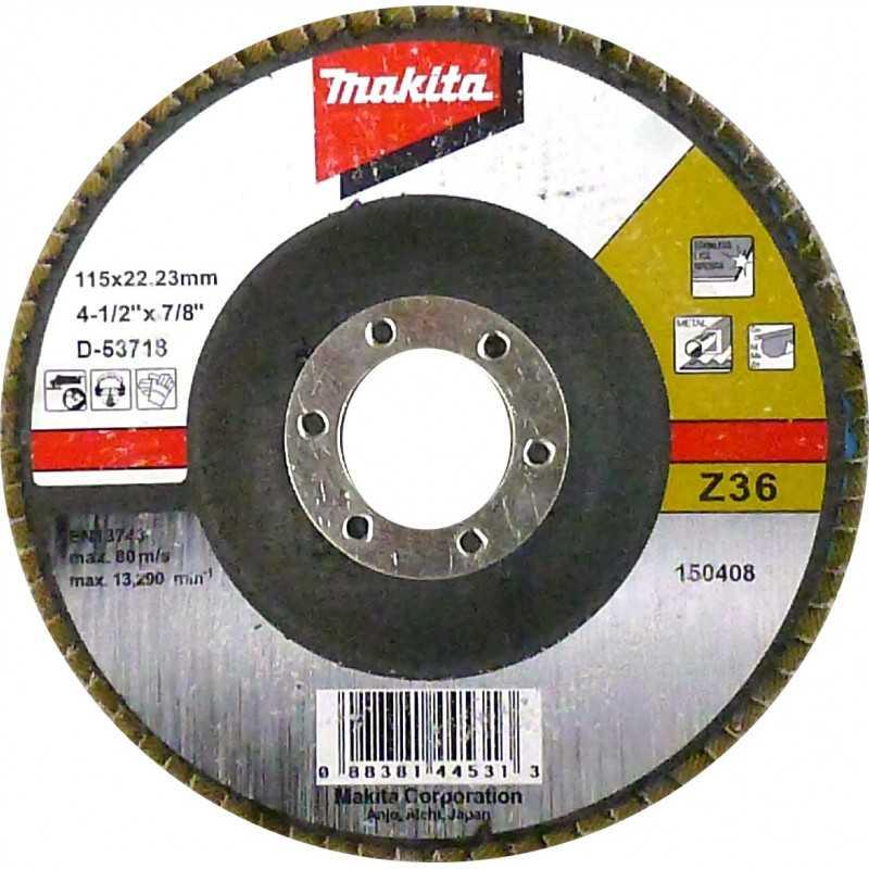 Disco Flap 115x22.23mm Gr 36 Zircón / Metal y Acero Inox. Ángulo Makita D-53718
