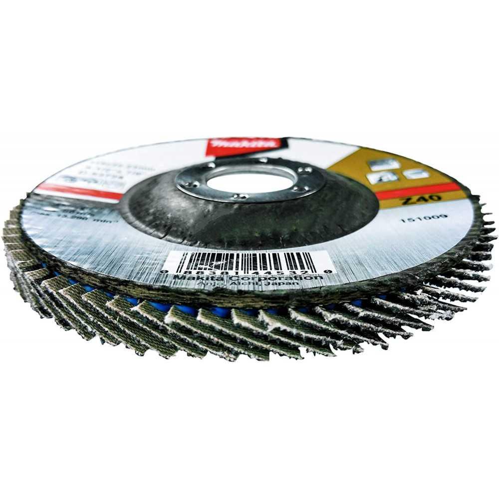 Disco Flap 115x22.23mm Gr 40 Zircón / Metal y Acero Inox. Ángulo Makita D-53724