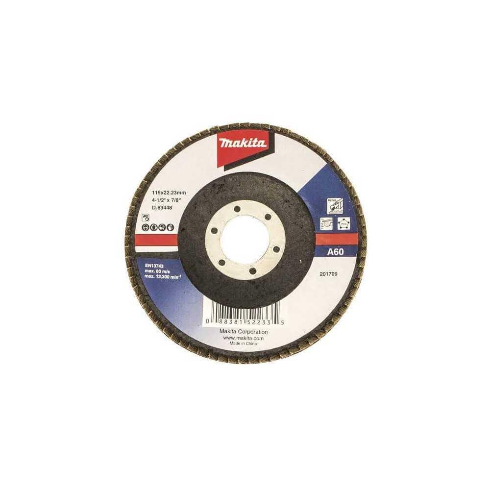 Disco Flap 115x22.23mm Grano 60 Óxido de Aluminio / Metal Ángulo Makita D-63448