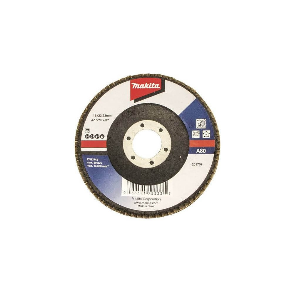 Disco Flap 115x22.23mm Grano 80 Óxido de Aluminio / Metal Ángulo Makita D-63454