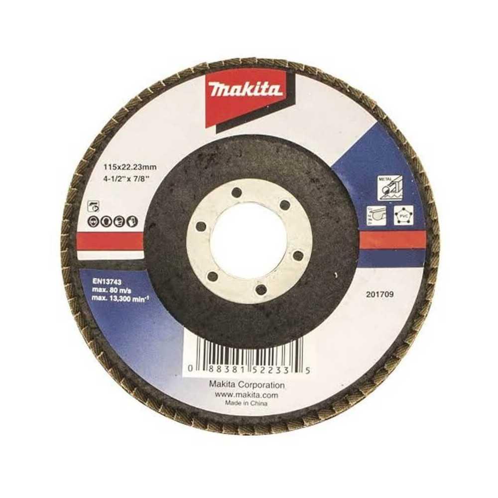 Disco Flap 115x22.23mm Grano 120 Óxido de Aluminio / Metal Ángulo Makita D-63460