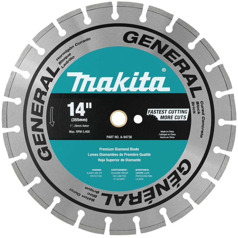 "Disco Diamantado Segmentado 14"" Uso General Hormigón-Ladrillo-Mat.Const. Makita A-94736"