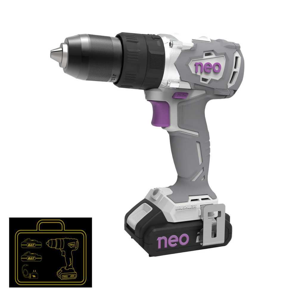 Taladro Atornillador Percutor Inalámbrico 13mm TP 1013/20 K + 2 Baterías 20V 2Ah + Cargador Neo MI-NEO-053442