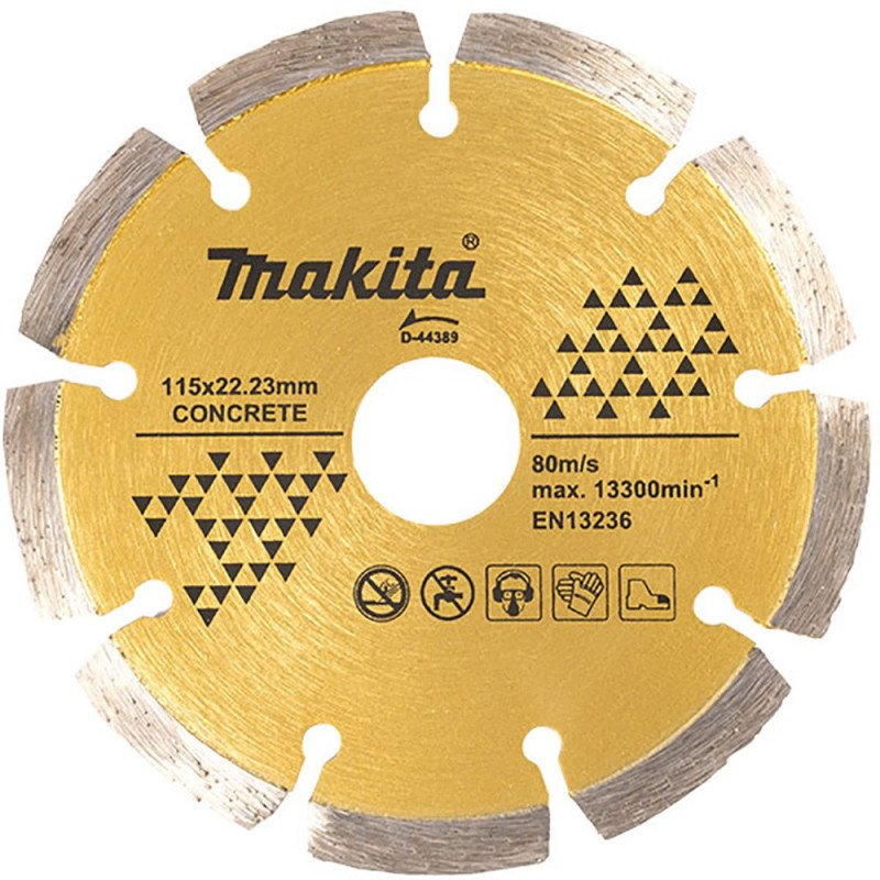 Disco Diamantado Segmentado 115X22.23MM Para Concreto Makita D-44389