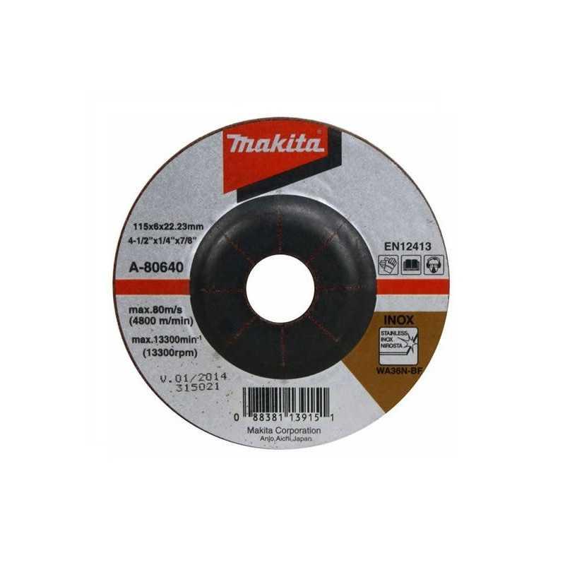 Disco Desbaste Para Acero Inox 115x6x22.23MM GR 36 Makita A-80640