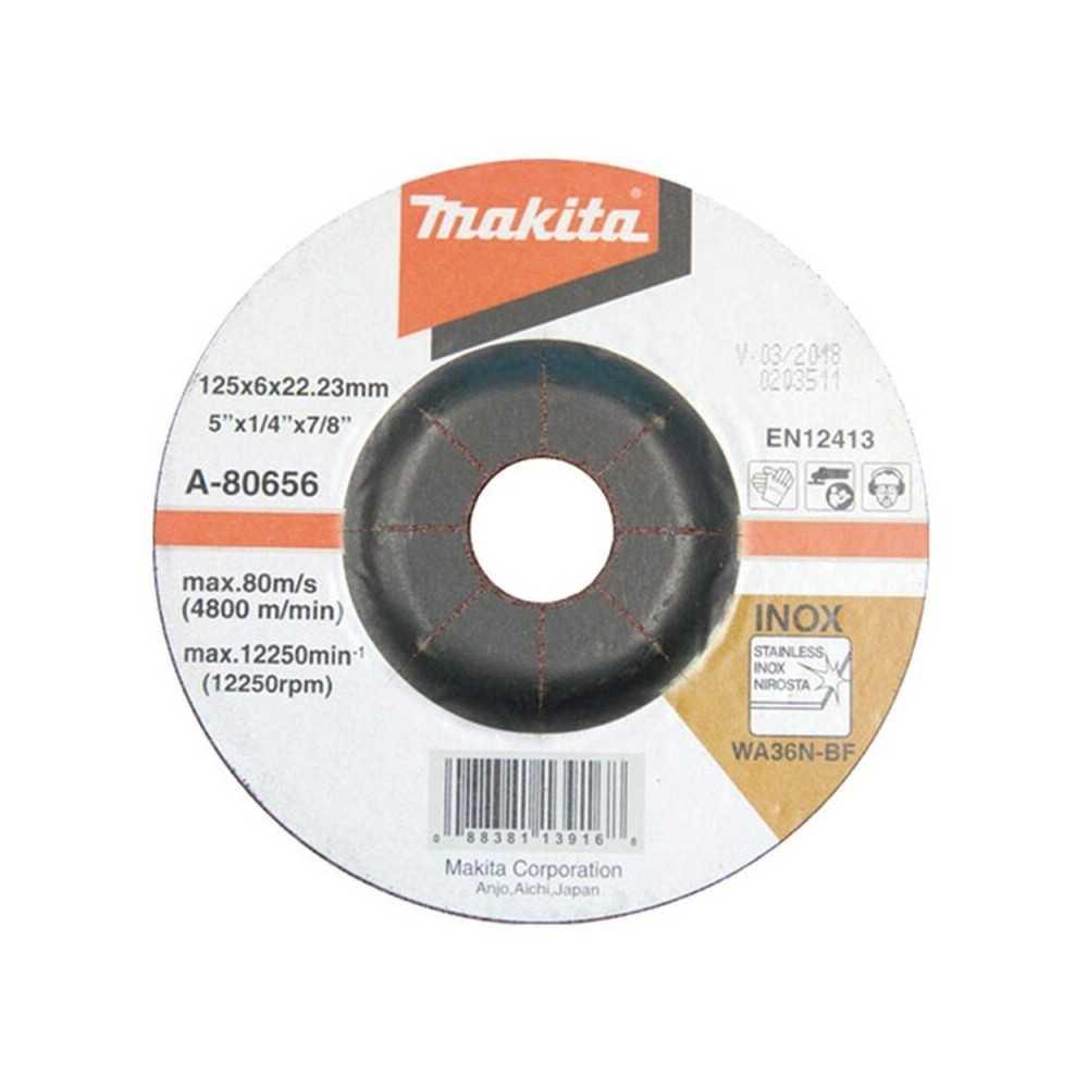 Disco Desbaste Para Acero Inox 125x6x22.23MM WA36N Makita A-80656