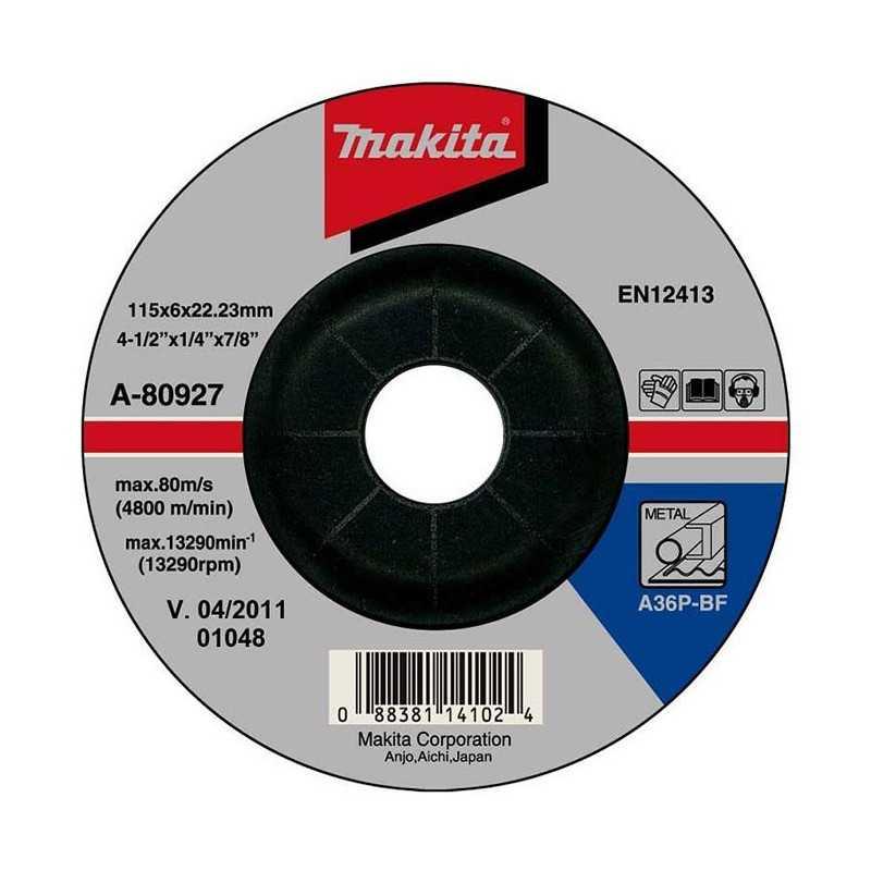 Disco Desbaste Metal 115x6x22.23MM Makita A-80927
