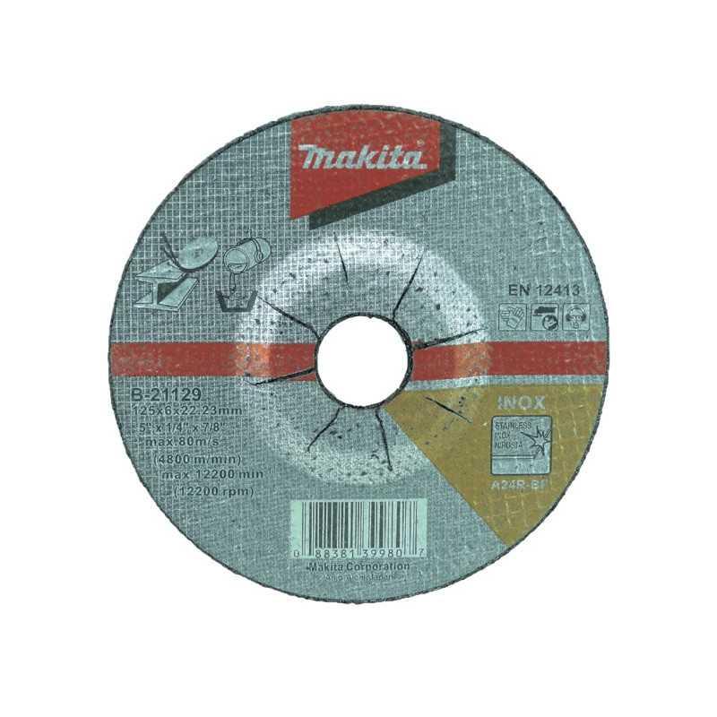 Disco Desbaste Acero 125x6x22.23MM A24R para trabajo pesado Makita B-21129
