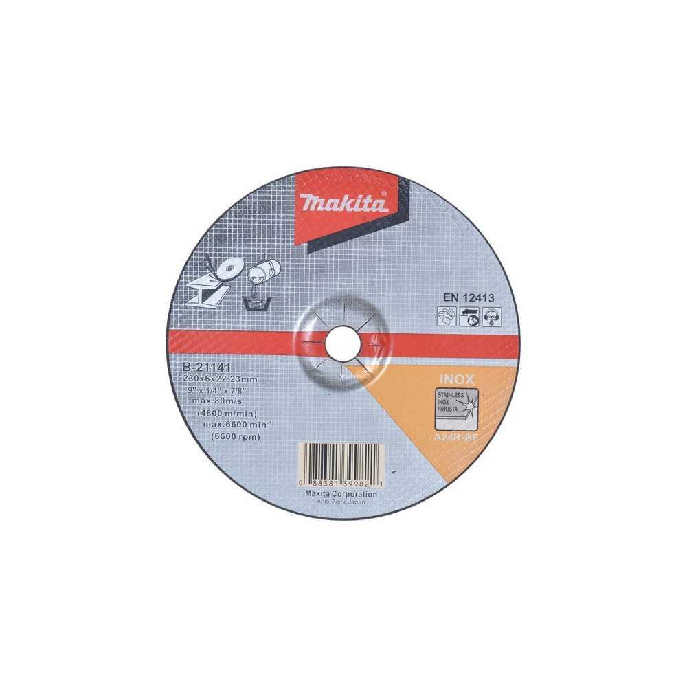 Disco Desbaste Acero Inox 230x6x22.23MM A24R para trabajo pesado Makita B-21141