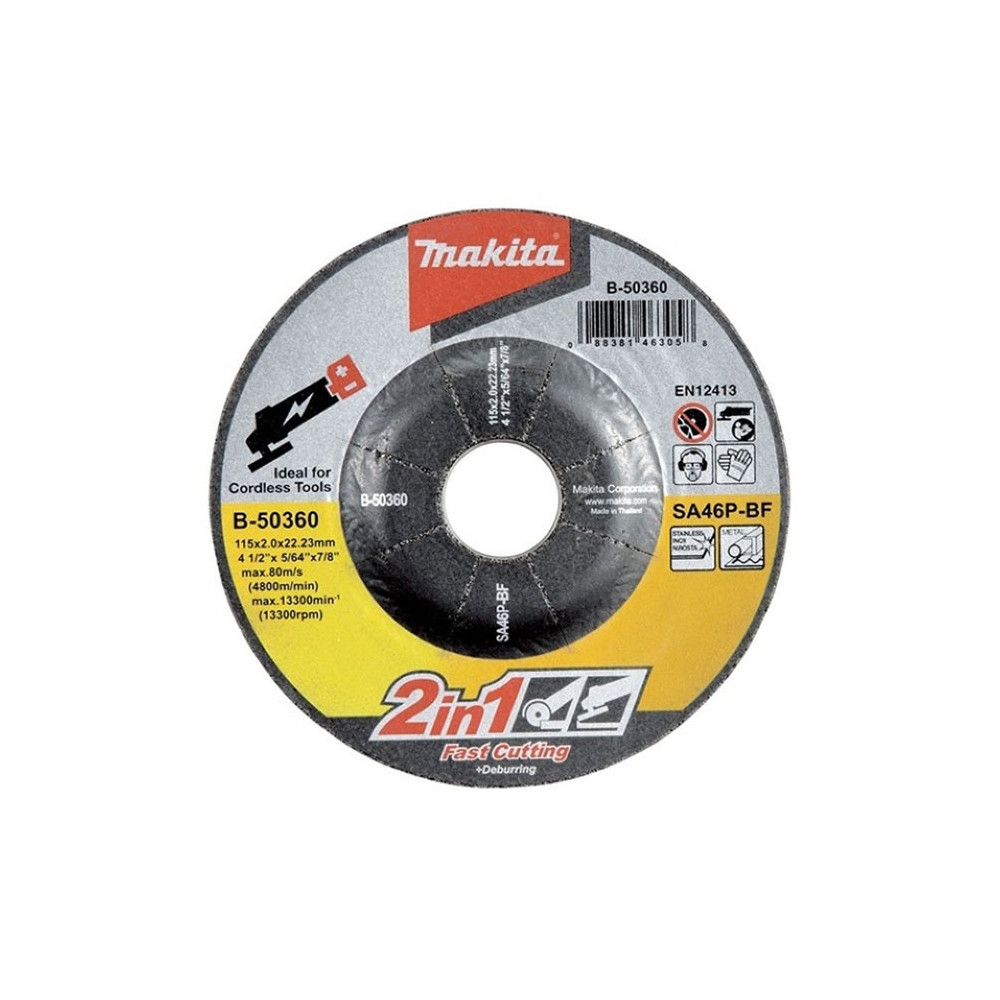 Disco Abrasivo Corte-Desbaste 2 en 1 115x2.0x22.23MM SA46P Makita B-50360