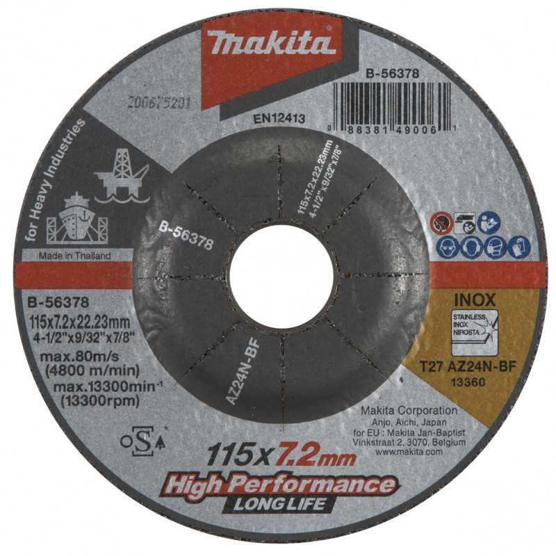 Disco Desbaste Metal / Inox 115x7.2x22.23MM AZ24N HI-Trabajo Pesado Makita B-56378
