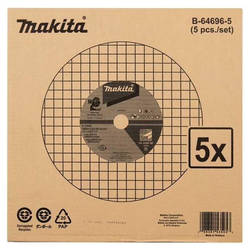 "Disco Corte Metal 14"" 355x2.5x25.4 mm A36P 5 Unidades Makita B-64696-5"