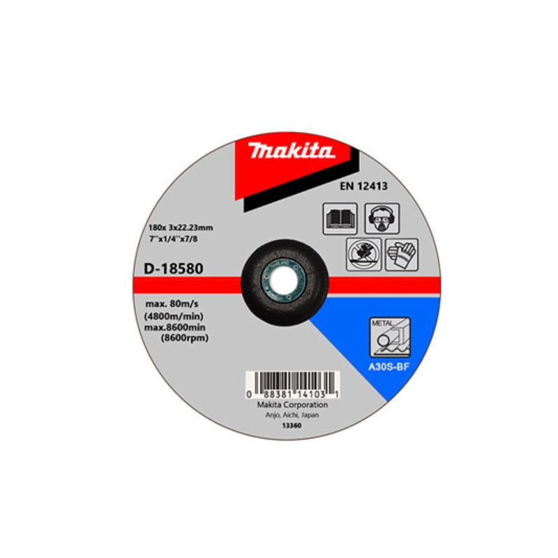 "Disco Corte Metal 7""/ 180x3x22.23 MM A30S-BF Makita D-18580"