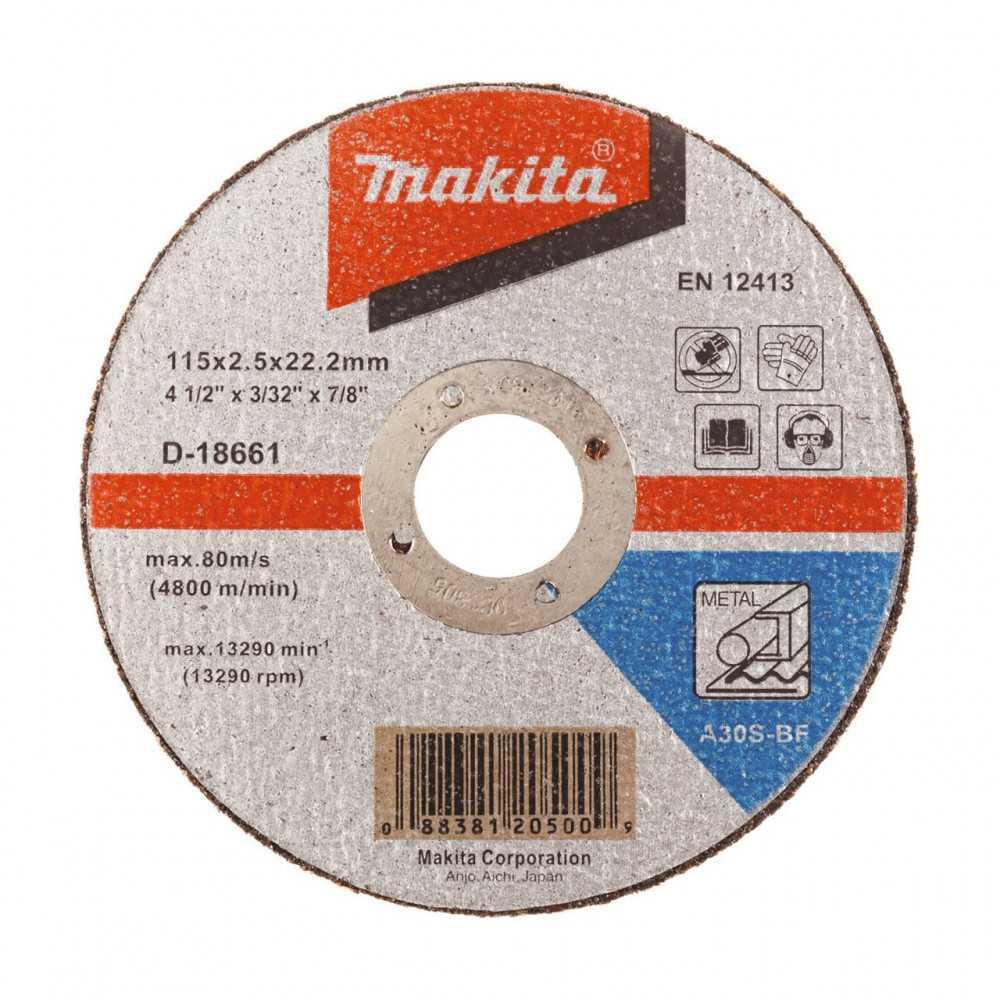 "Disco Corte Metal 4-1/2"" / 115x2.5x22.23MM A30S-BF Recto Makita D-18661"