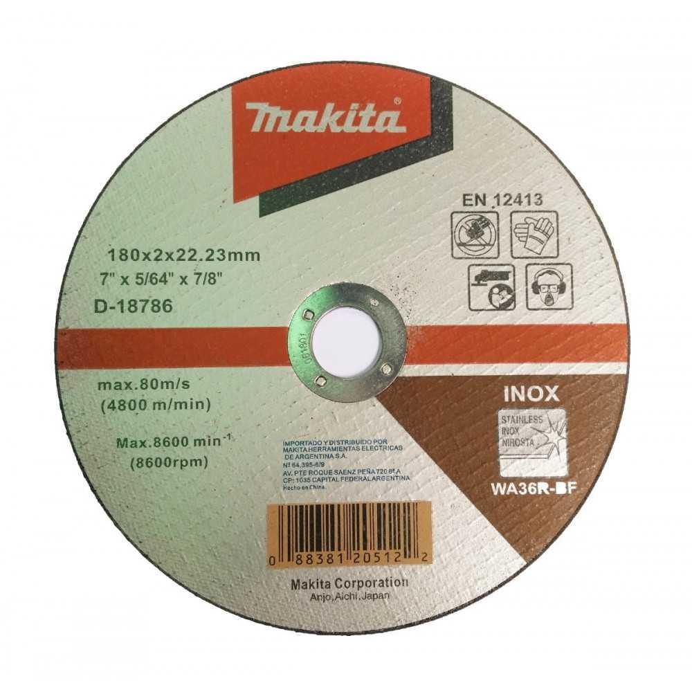 "Disco Abrasivo Corte Acero Inox 7"" /180x2x22.23MM WA36R Makita D-18786"