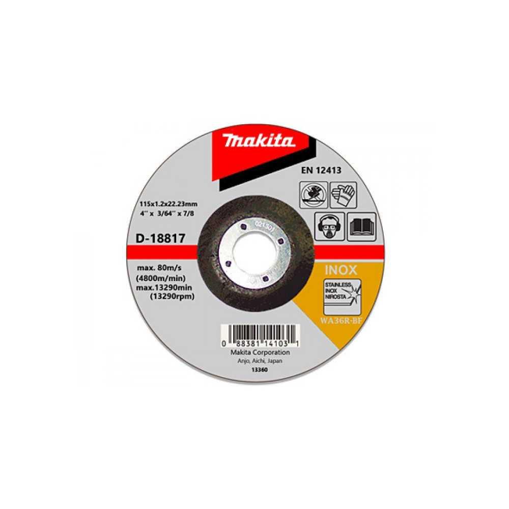 "Disco Abrasivo Corte Acero Inox 4-1/2"" /115x1.2x22.23MM WA60T-BF Makita D-18817"