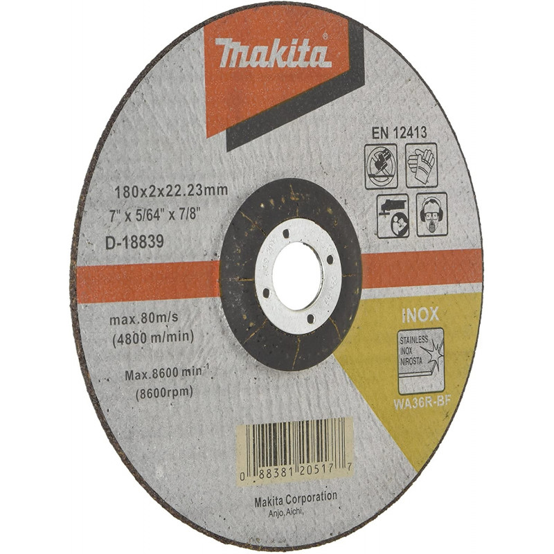 "Disco Abrasivo Corte Acero Inox 7"" / 180x2x22.23MM WA36R-BF Makita D-18839"