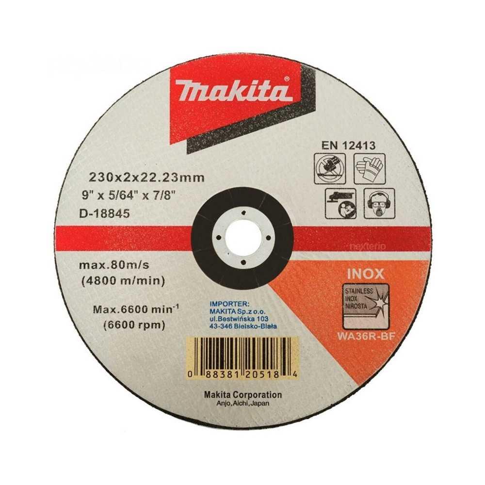 """Disco Abrasivo Corte Acero Inoxidable 9"""" /230x2x22.23MM WA36R-BF Makita D-18845"""