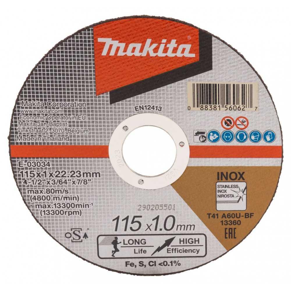 """Disco Abrasivo Corte Acero Inoxidable 4-1/2"""" /115x1.0x22.23MM A60U-BF Makita E-03034"""