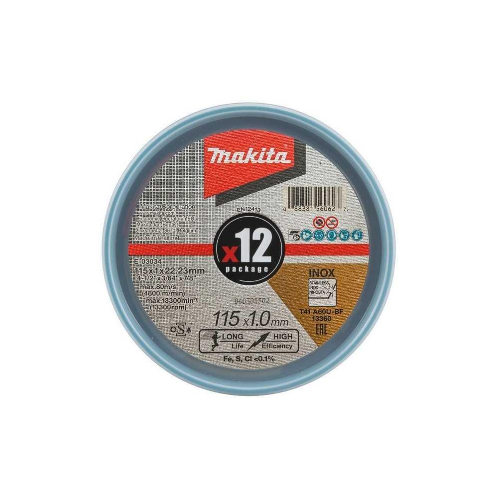 "Disco Abrasivo Corte Acero Inox 4-1/2"" /115x1.0x22.23MM 12 Piezas Makita E-03034-12"