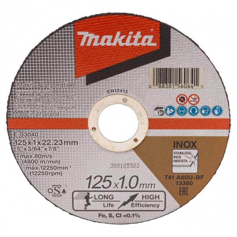 """Disco Abrasivo Corte Acero Inox 5"""" /125x1.0x22.23MM A60U-BF Makita E-03040"""