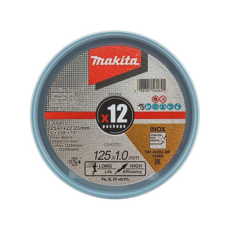 "Disco Abrasivo Corte Acero Inoxidable 5"" /125x1x22.23MM 12 Piezas Makita E-03040-12"