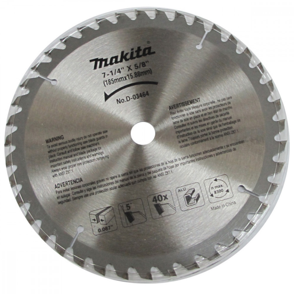 "Disco de Corte para Aluminio 7-1/4"" (185mm) Eje 5/8"" 40D Makita D-03464"