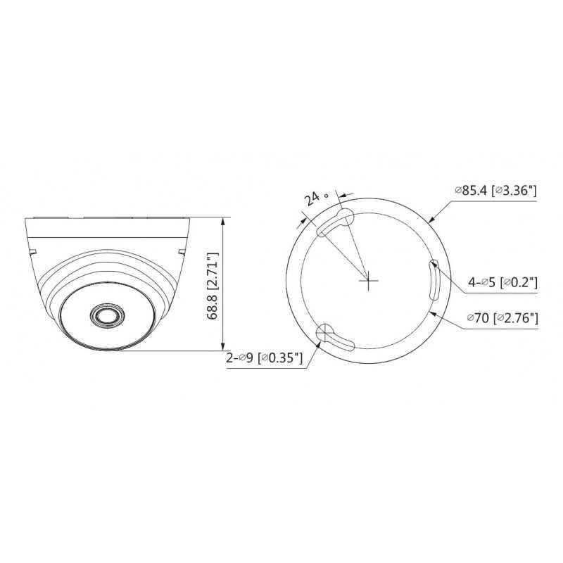 Cámara de Seguridad Domo IR HDCVI 20m 1MP T1A11 Eyeball Dahua 1201172273