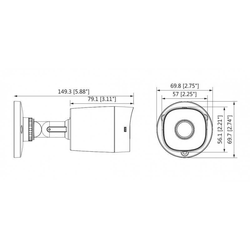 Cámara de Seguridad Bullet HDCVI 20m 2MP DH-HAC-B1A21N-0360B Dahua 1201172281