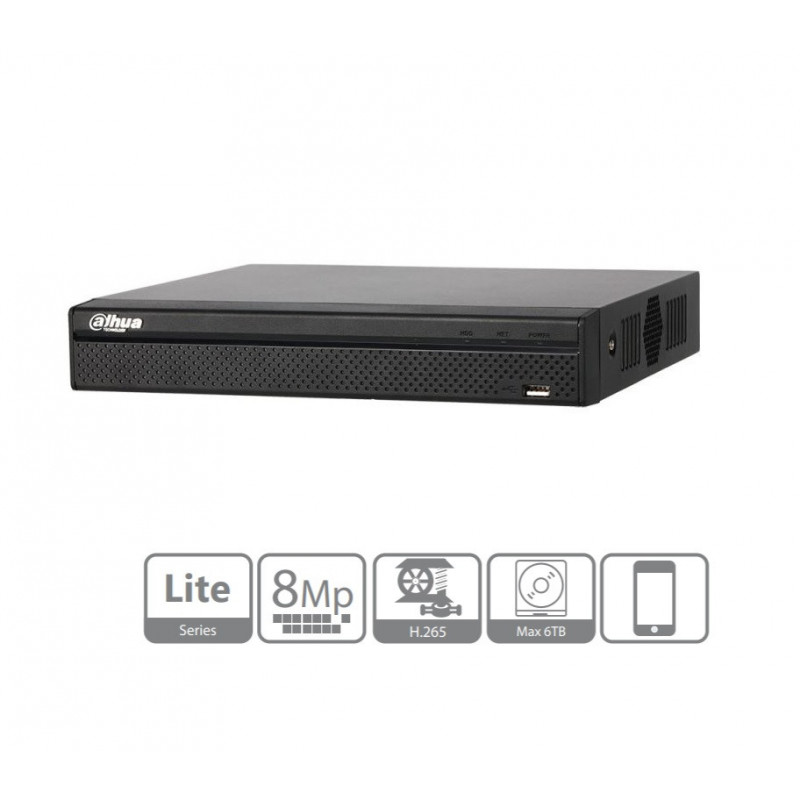 NVR Grabador 8 Canales 1U Lite 4K H.265 sin HDD Dahua NVR2108HS-4KS2
