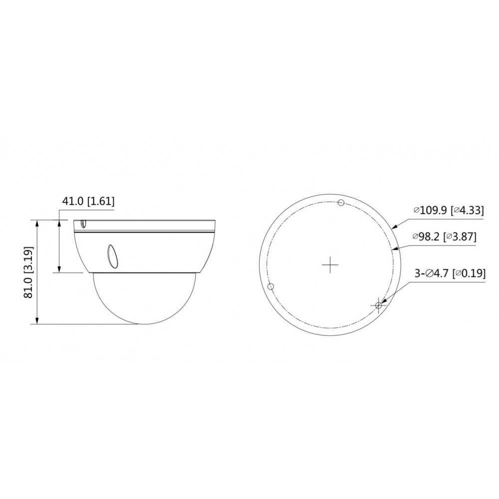 Cámara de Seguridad Minidomo IR IP 30m 2MP lente 2.8mm Dahua IPC-HDBW2231EN-S-0280B-S2