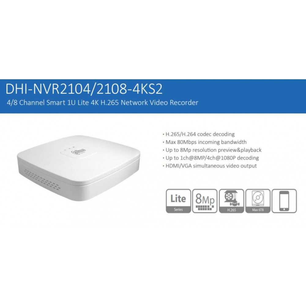 NVR Grabador 4 Canales 8mp NVR2104-4KS2 Dahua 1202172021