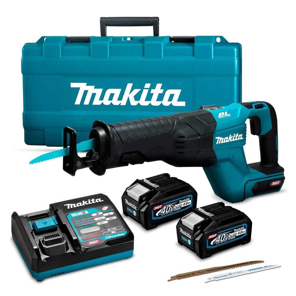 Sierra Sable Inalámbrica 32mm 40V+ 2 Baterías 4.0Ah 40V+ Cargador XGT 40Vmax + Maleta Makita JR001GM201
