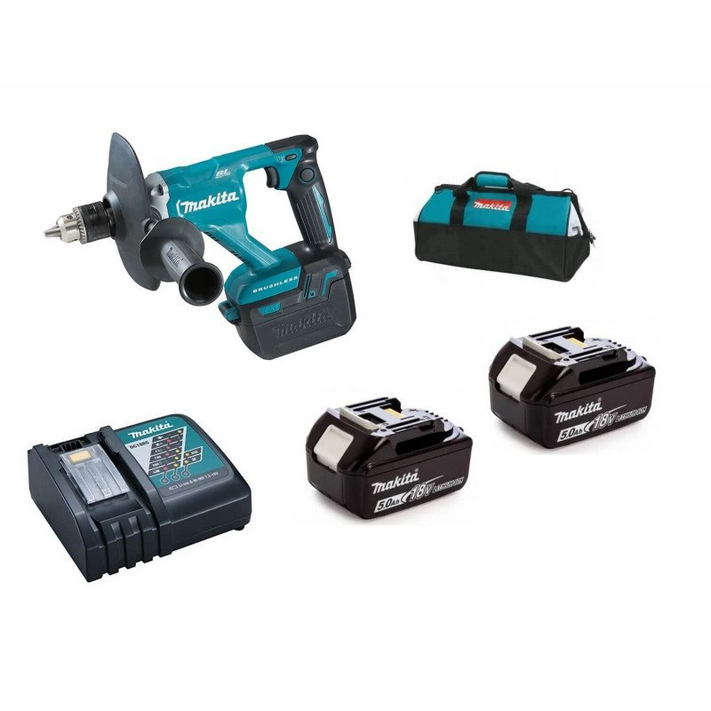Mezclador Inalámbrico 1.5-13mm + 2 Baterías de 18V 5.0Ah + Cargador Rapido Makita DUT131RTE