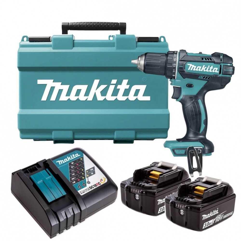 Taladro Atornillador Inalámbrico 13mm (1/2″) + 2 Baterías de 18V 3.0Ah + Cargador Rápido Makita DDF485RFE